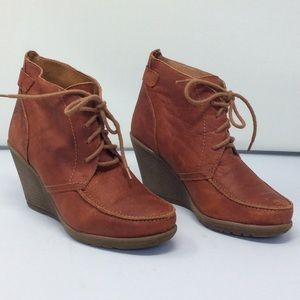 Rust Red Leather Wedge Heel Tie up Boots